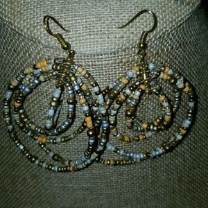 New Southwestern Beaded Hoop Earrings